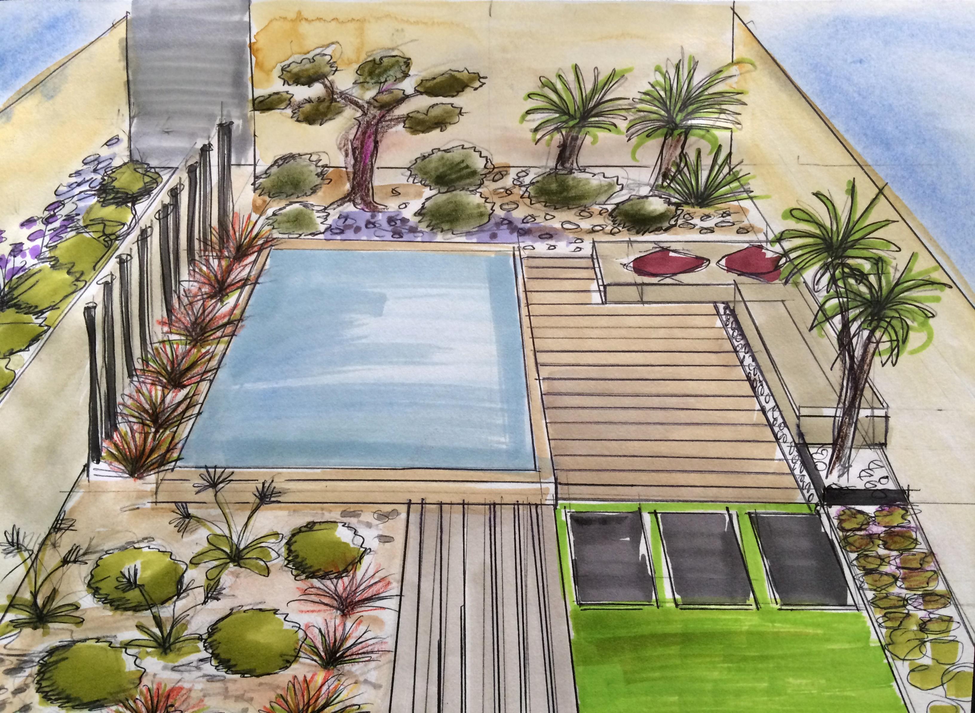 amenagement piscine dans petit jardin