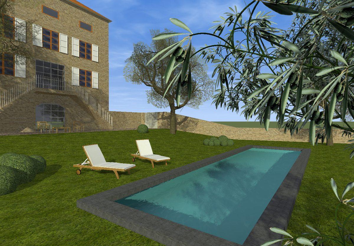 Amenagement piscine terrain en pente - Jardin avec piscine ...
