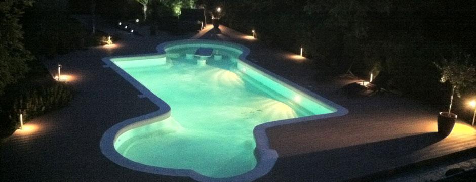 eclairage piscine beton