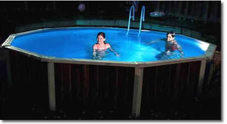 eclairage piscine hors sol acier