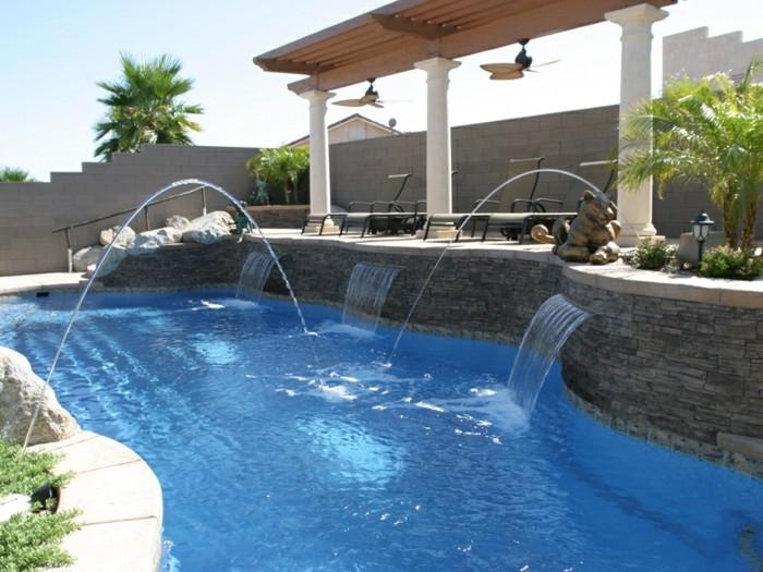 Fontaine piscine pierre - Cascade pour piscine ...