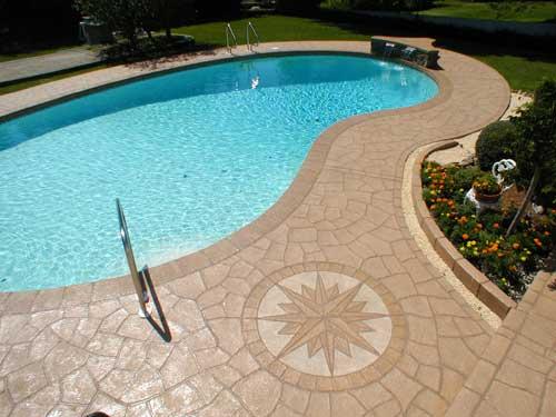 plage piscine beton imprime