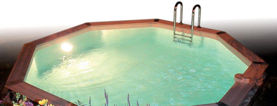 projecteur piscine bois