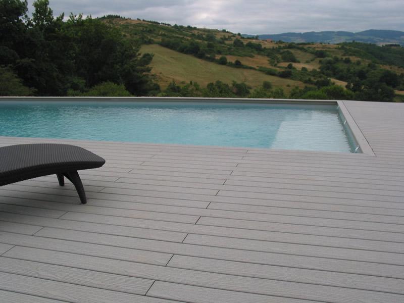 Terrasse Piscine Bois Composite Gris