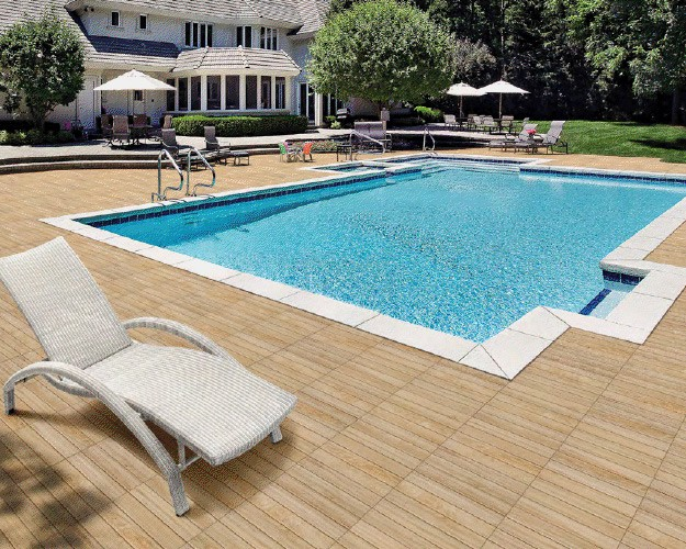 terrasse piscine carrelage bois. Black Bedroom Furniture Sets. Home Design Ideas