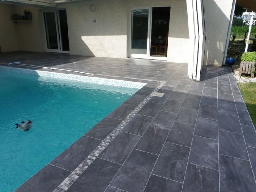 terrasse piscine carrelage gris. Black Bedroom Furniture Sets. Home Design Ideas