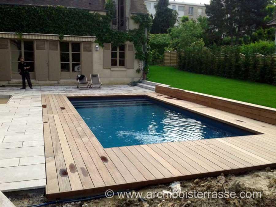 terrasse piscine pierre  bois