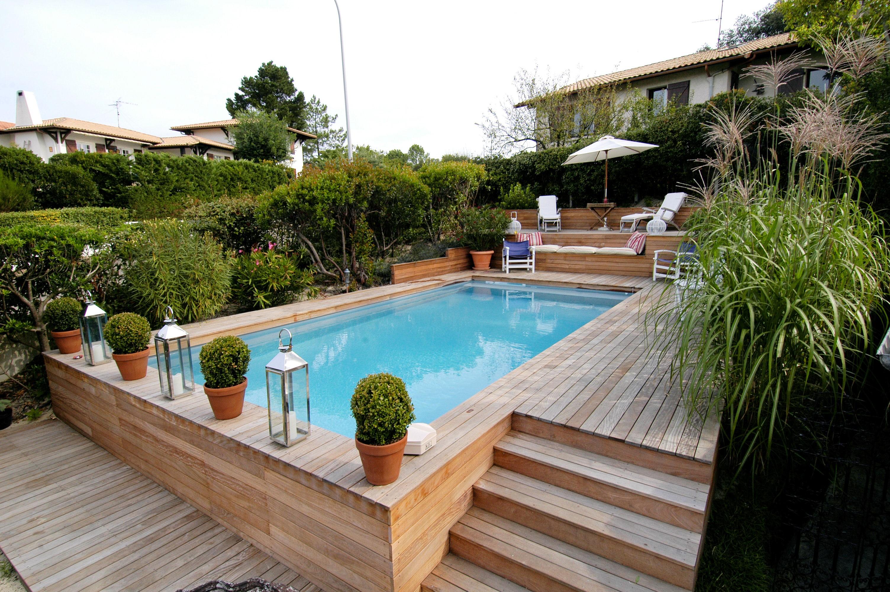 Terrasse piscine semi enterree - Prix piscine en bois semi enterree ...