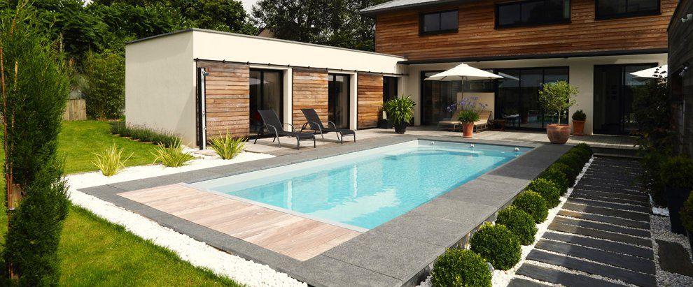 amenagement piscine bois et pierre