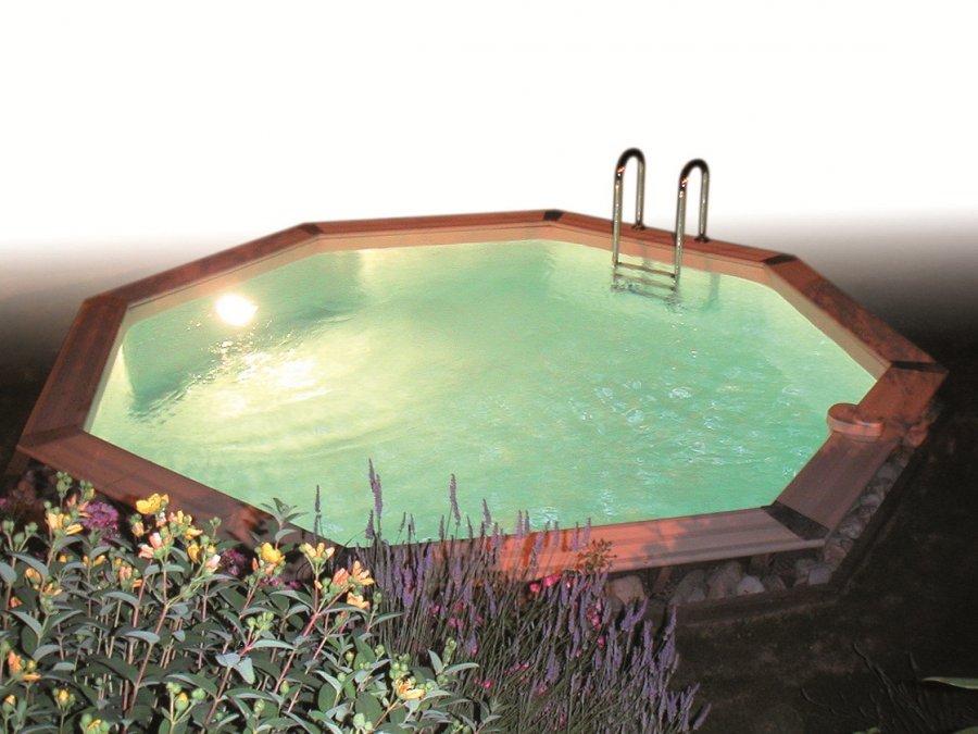 eclairage piscine hors sol bois